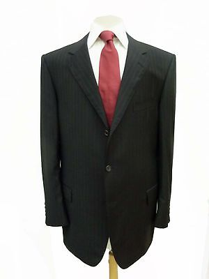 $2375 NEW LANVIN Black Tonal Stripe Wool Suit 47L/48L ITALY SALE!