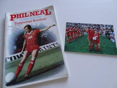 Liverpool Fc Legend Phil Neal Hand Signed 1985 Testimonial Brochure & Photograph