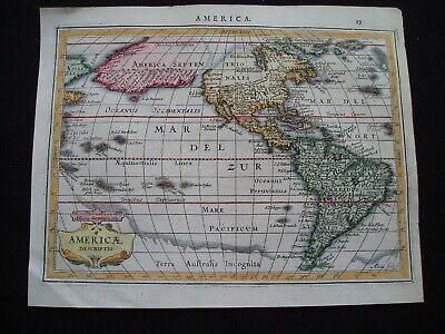 1628 Jansson Map North South America Pacific United States Canada Very Rare