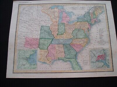 1836 Heck Map United States Michigan Wisconsin North West Territories Very Rare