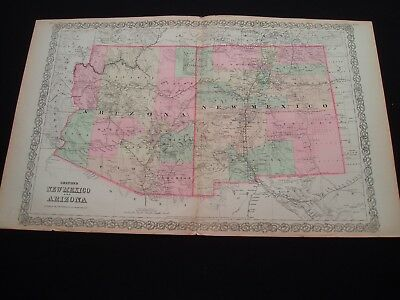 1873 Colton Map New Mexico and Arizona Territories Large Size Genuine Antique