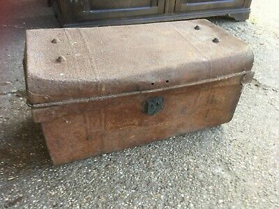 Vintage Antique Small Metal Trunk Chest Storage Box with Handles