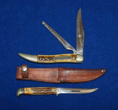 Vtg Case Xx 32095 Stag Handle Two Blade Fish Knife & Case Baby Bowie Knife