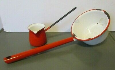 """2 Vtg Red White Enamelware Ladle Water Dipper Syrup Enamel 13"""" Country Kitchen"""
