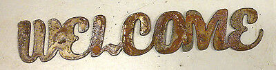 """8"""" WELCOME Rusty Rough Metal Wall Art Vintage Craft Ornament Sign Stencil Craft"""