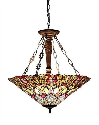 "24"" Inverted Victorian Pendant Hanging Ceiling Light Fixture Stained Cut Glass"