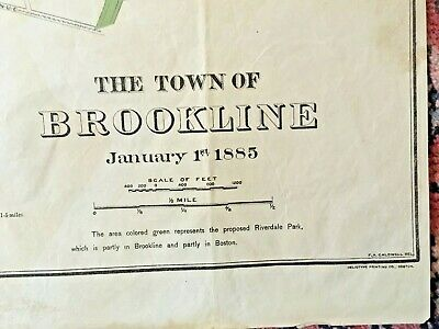 BROOKLINE MA Antique Map 1885 Five Highway Districts & Proposed Riverdale Park