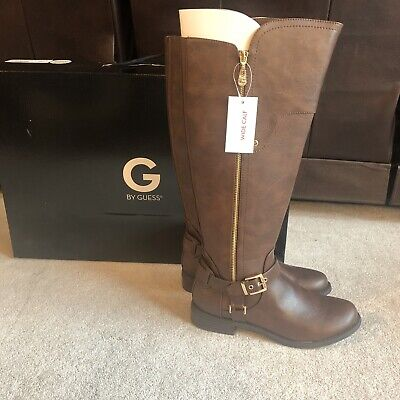 5fc7caab4ab G by GUESS Women s Harson Wide Calf Tall Riding Boots Size 8m Dark Brown LL  NEW