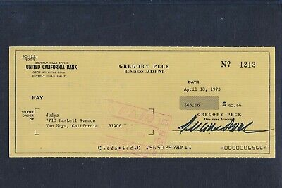 Gregory Peck Signed United California Bank Check Autoraph Auto PSA/DNA AF15445