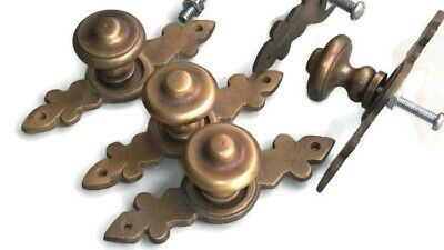"""6 pulls handle solid brass door vintage old style knobs kitchen heavy 3"""" aged B"""