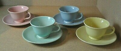 8 - Vintage LuRay TS&T Pastel Cups & Saucers Pink, Blue, Yellow & Green