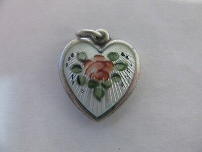 Vintage Antique Walter Lampl Sterling Silver Enamel Puffy Heart Flowers Engraved