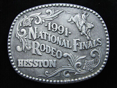 Rd11103 Used Nfr **1991 National Finals Rodeo** Hesston Collector Belt Buckle