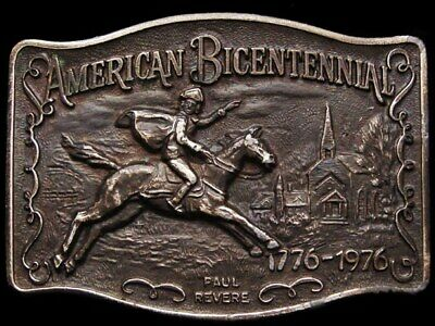Jf17135 Great Vintage 1975 **American Bicentennial - Paul Revere** Belt Buckle