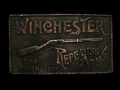ND29104 VINTAGE 1970s **WINCHESTER REPEATING ARMS** GUN BERGAMOT BELT BUCKLE