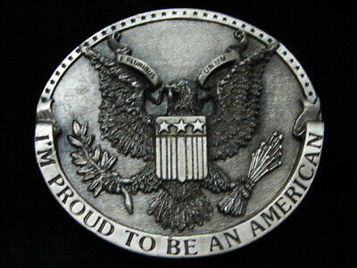 Ql01136 Vintage 1981 **I'm Proud To Be An American** Patriotic Belt Buckle