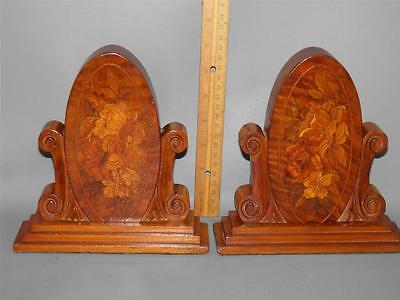 Pair Antique Classical Bookends Floral Inlay  Marquetry Wood