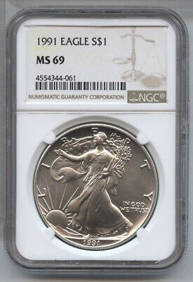 1991 American Eagle Silver Dollar 1 oz NGC MS 69 Certified - One Ounce BA482