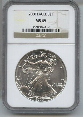 2000 American Eagle Silver Dollar 1 oz NGC MS 69 Certified - One Ounce BA500