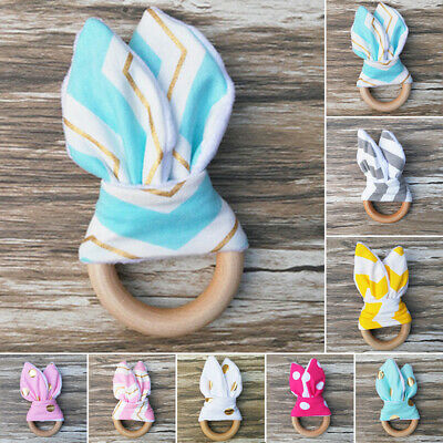 Pattern Rabbit Baby Infant Natural Chewie Wooden Ring Bunny Teething Teether