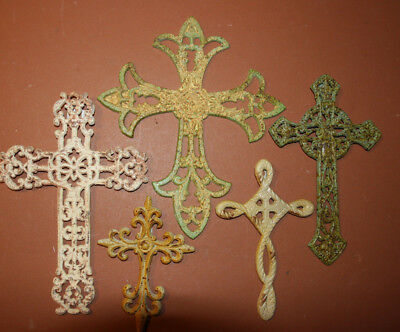 Shabby Distressed Cast Iron Christian Wall Crosses Old Fashion Cottage Design