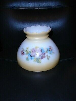 Vintage Frosted Glass With Flowers Hurricane Lamp Shade