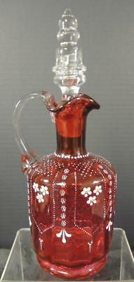 Incredible Antique Ruby * Cranberry & Hand Painted Enamel Decanter