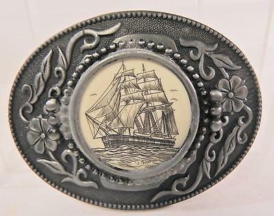 Large Men's Scrimshaw Ship Belt Buckle