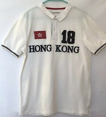 c1241fcd0 Giordano Polo Tapered Fit Mens L White Polo Short Sleeve Embroidered Shirt
