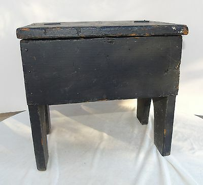 Antique Primitive Black Painted Wood Stool w/ Hinged Lid Shoe Shiner?? Furniture