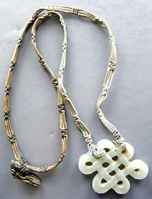 Vintage Chinese Jade Pendant and Hand Macrame Necklace