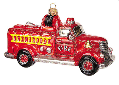 Vintage Fire Truck Ladder First Responder Glass Christmas Tree Ornament 110405