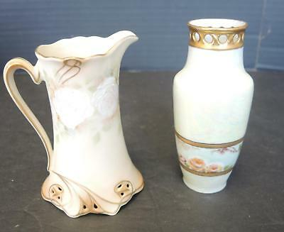 Two Piece Lot Hand Painted Royal Bayreuth Creamer Oleg Austria Hand Painted Vase