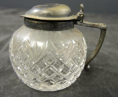 Antique Cut Glass Mustard Pot With Plated Silver Top