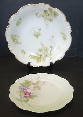 Antique Limoges Hand Painted Sweet Peas Plate * Large Serving Bowl