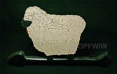 Hand-crafted Artist-Made Primitive Signed Hanging Wood Sheep on Arrow  Wall Art