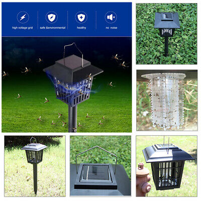 Solar Powered Outdoor Mosquito Fly Bug Insect Pest Zapper Killer Trap Light Lamp