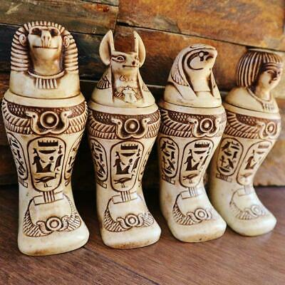 Antique Set of 4 Egyptian Ancient Canopic Jars Organs Funerary Statues X-LARGE