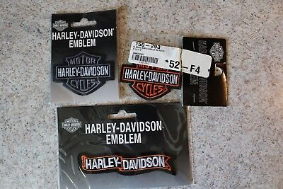Harley Davidson Motorcycles, Three Emblems/Patches NEW IN PACKAGES