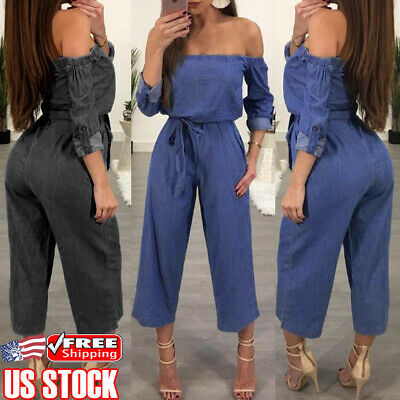 Womens Off Shoulder Denim Jeans Pants Overalls Strappy Jumpsuit Rompers Trousers