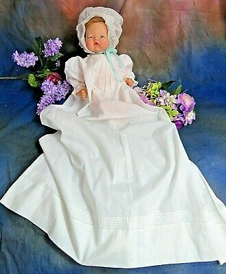 ANTIQUE original VICTORIAN Christening Gown LONG baby DOLL DRESS pin tucks 20-24