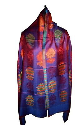 85363746a Floral Design Indian Reversible Stole Handmade Kashmiri Shawl Hippie Warm  Neck