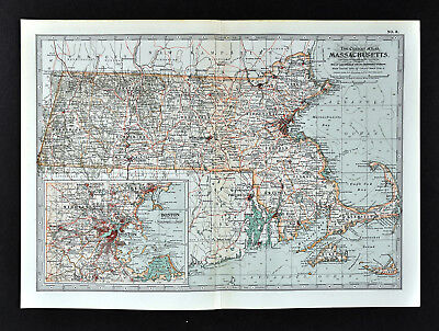 1902 Century Map Massachusetts Boston Cape Cod Cambridge Salem Worcester Newton