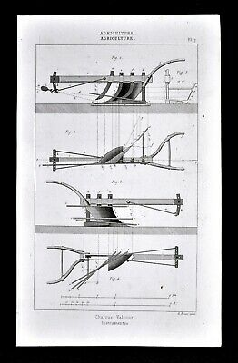 1859 Antique Print Agriculture Farm Implement Horse Drawn Valcourt Plow by Didot