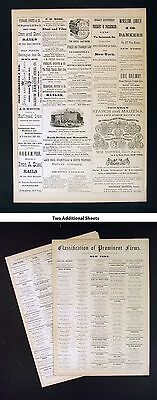 1872 Asher Atlas - New York City Classified Advertisement Pages - 3 Sheets Total