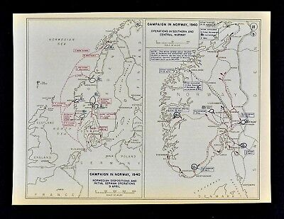 West Point WWII Map - Norway Campaign - German Invasion & Norway Surrender 1940