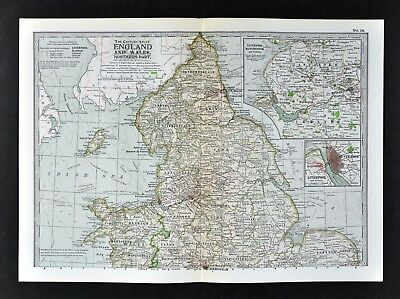 1902 Century Atlas Map - North England - Wales Liverpool Manchester Nottingham