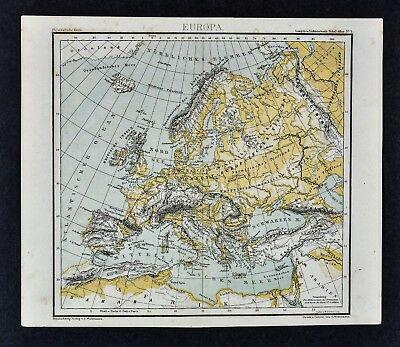 1875 Lange Map - Physical Europe Alps Pyrenees Italy Spain France Russia Sweden