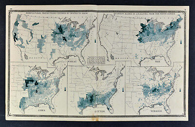 1876 United States Agriculture Map - Cotton Tobacco Corn Wheat Hay - US Census