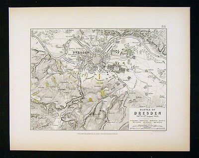 1855 Alison Military Map - Napoleon Battle of Dresden 1813  Germany Elbe River